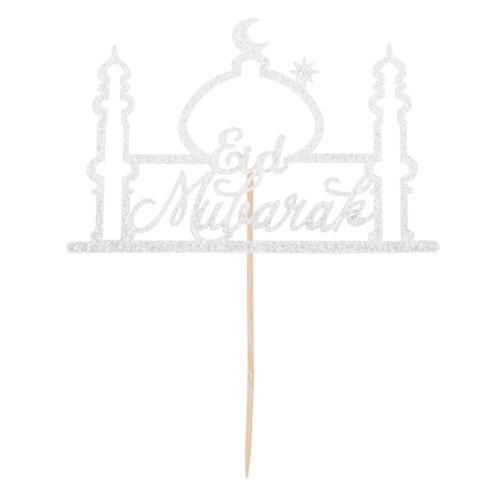 Eid Mubarak Gold Glitter Cake Topper Ramadan Home Party Decoration Hajj Decor