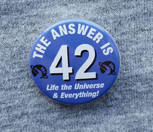 The-Answer-is-42-Hitchhikers-Guide-to-the-Galaxy-Small-Badge-25mm-Diam