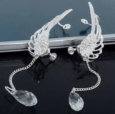 Cool Angel Wing Crystal Dangle Drop Ear Cuff Chic Stud Clip Earrings Gift