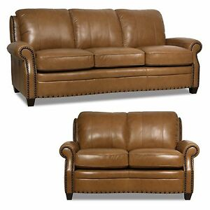 New Luke Leather 2 Piece Sofa Set Quot Bennett Quot Wheat Brown