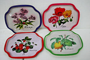Vintage-Metal-Tin-Tray-Set-of-4-trays-Flowers-and-Fruits-4-trays-Real-NICE