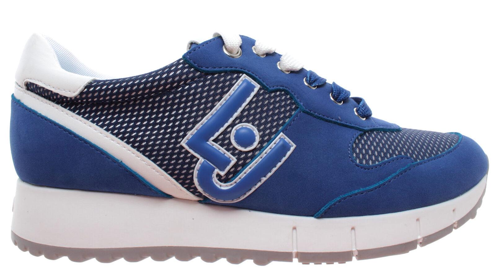 LIU JO Milano Gigi02 Running Cow Cow Cow Suede Mesh Deep azul Azul Zapatos Mujer zapatilla de deporte  disfruta ahorrando 30-50% de descuento