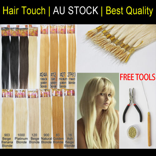 "20"" Nano Ring Plastic String Tip Italian Remy Human Hair Extension More Comfort"