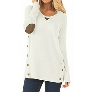 DEARCASE Womens Casual Long Sleeve Faux Suede Loose Tunic Button Blouses Shirt Tops