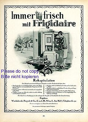 1920-29 Advertising Frigidaire Fridge Xl 1927 Austrian Ad Warchalowski & Finsterle Vienna Tennis