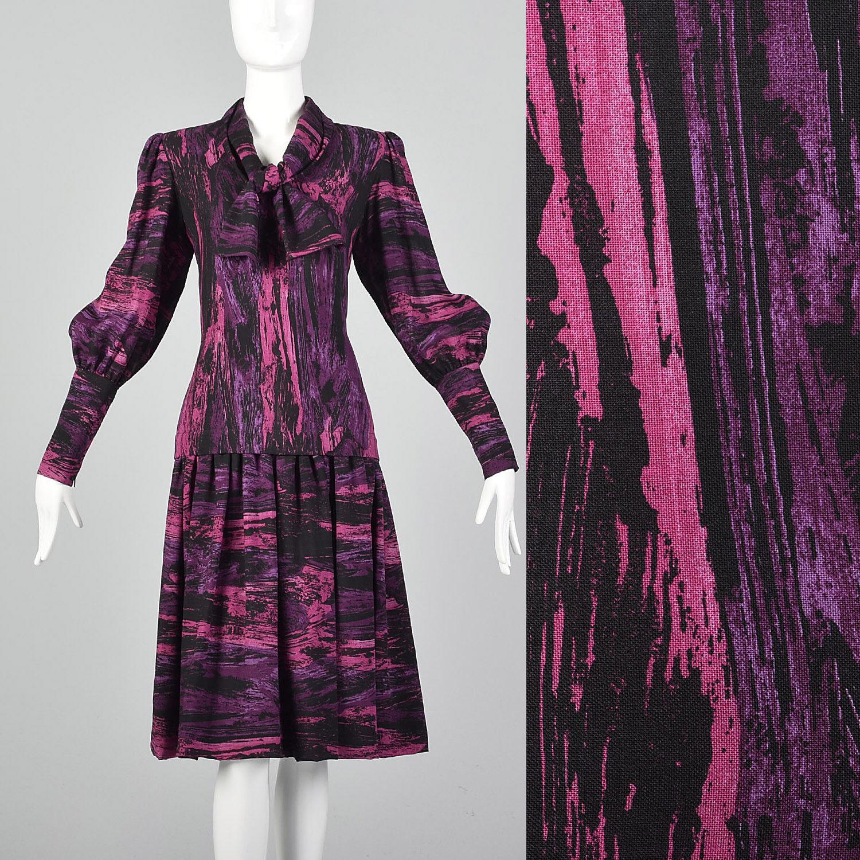 Medium Pauline Trigere 1980s Drop Waist Dress Vin… - image 1