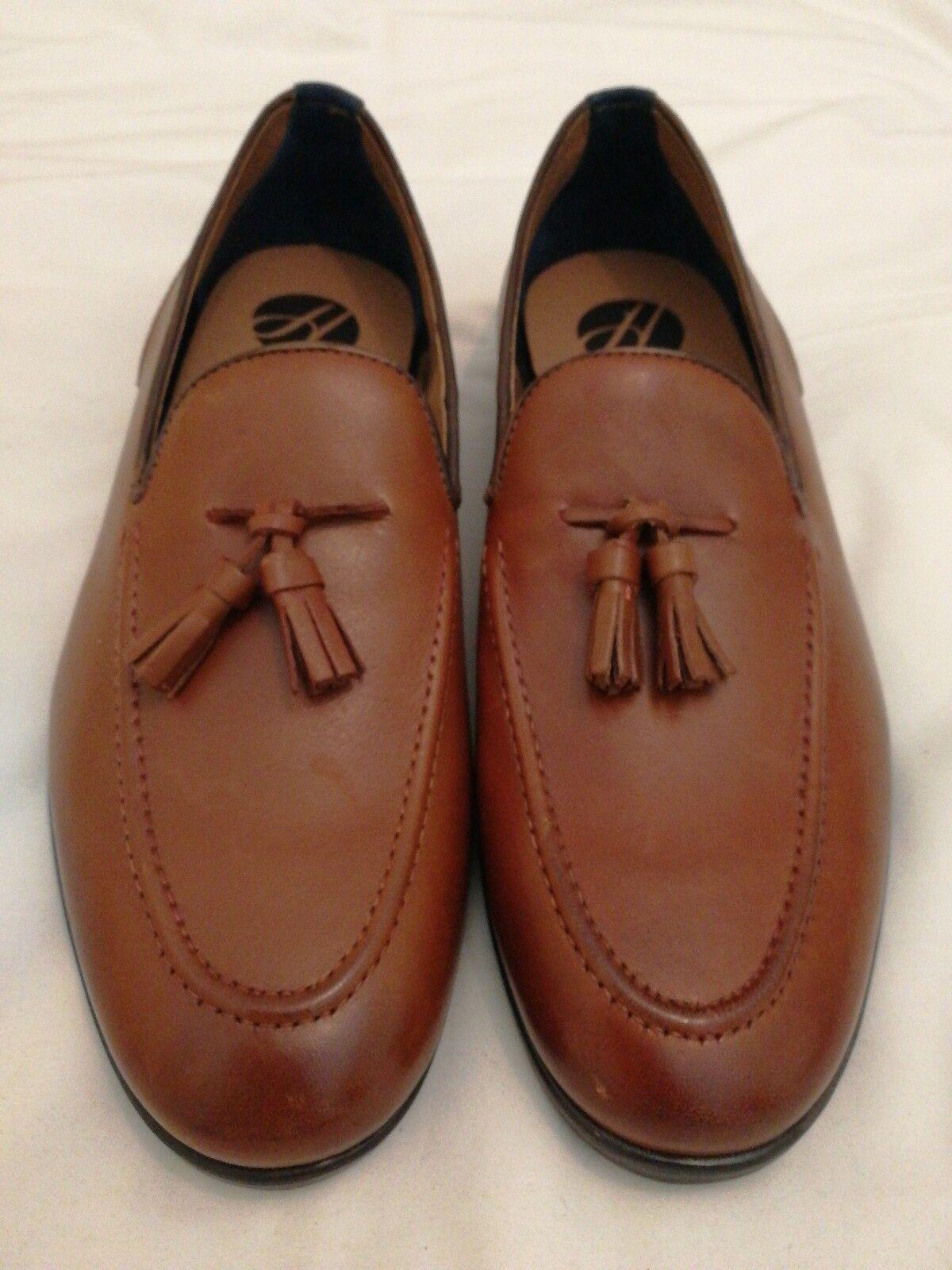 H By Hudson Aylsham Ser01 Leather Slip-on Tassel Loafers shoes Tan eu 43