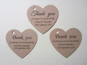 Personalised Heart Wedding Thank You Cards Tags Guest Favour Gift