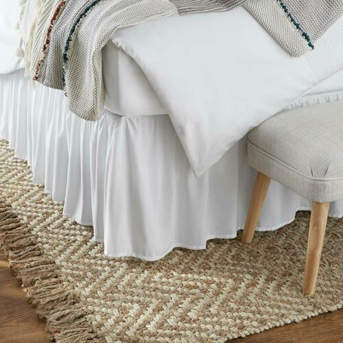 Queen Size Ruffled Bed Skirt White Border Wrinkle Fade Resistant Bedroom Storage
