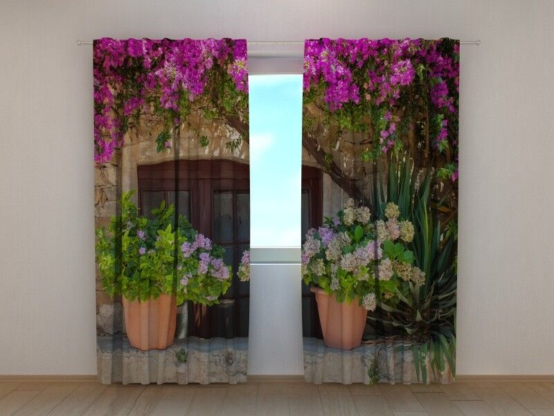 Scenery Curtain Wellmira Printed with Flowers in Pots Image for for for Living Room 2e2f37