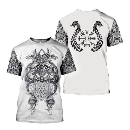 Viking Tattoo 3D Print Casual T-Shirt Fashion Hot Womens Mens Short Sleeve Tops
