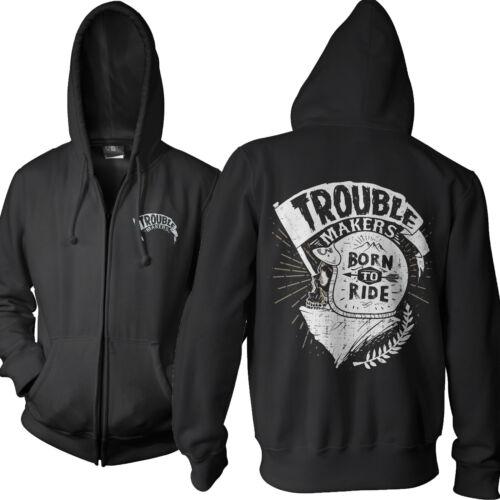 Herren Hoodie Kapuzen Zipper Trouble Makers Motorad Biker Rock Neu S-5X TM1116ZP