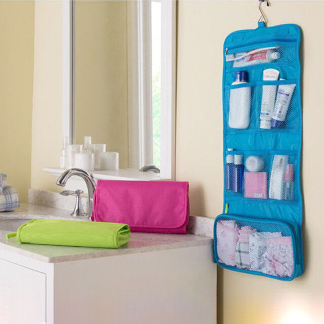 Foldable Travel Toiletry Wash Cosmetic Bag Make Up Storage Case W/ Hook Hanging
