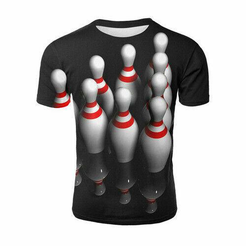 Neat Bowling Unisex Casual Women Men T-Shirt 3D Print Short Sleeve Tee Tops