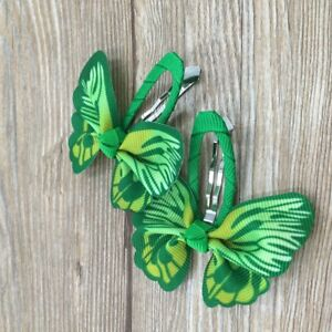 Girls-kids-Baby-bow-hair-clips-sides-snaps-children-Ribbon-hair-accessories-Pair
