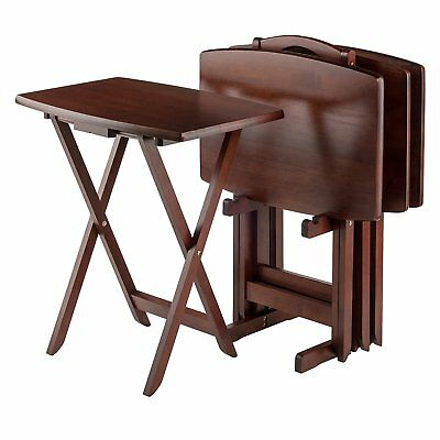 Tv Table Trays Folding Snack Set Wood Dinner Oversized Sturdy 5 Pc