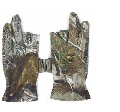 Outdoor Bionic Comauflage Hunting Gloves Anti Slip Half Finger Elastic Gloves