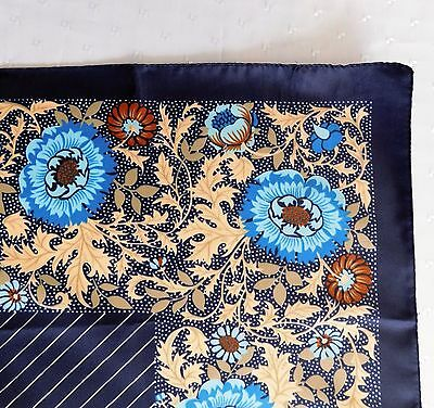 """Italian scarf blue floral pattern 26"""" square headscarf stripes vintage 1980s"""