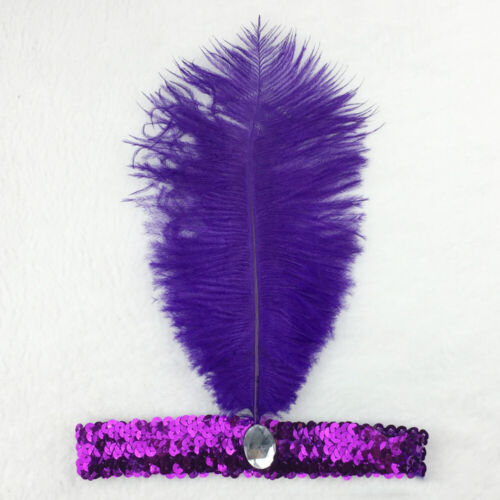 Womens Retro Sequin Ostrich Feather Headband 1920s Flapper Gangster Headpiece