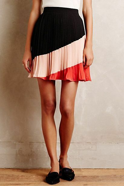 NIP ANTHROPOLOGIE Sian Mini skirt, Size L, multi color, Pleated