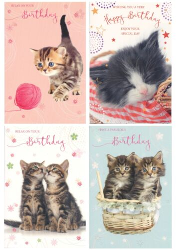 TRADITIONAL CUTE CUDDLY PUSSY CATS KITTENS OPEN BIRTHDAY CARDS 1STP/&P