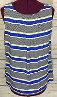 Dorothy Perkins Pleated Blue White Black Striped Sleeveless Top Tank Size 44 Eur