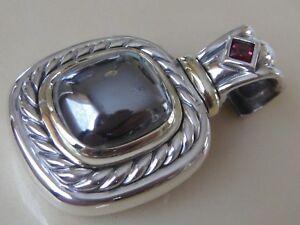 Bon CœUr David Yurman 14k, Sterling Silver Extra Large Albion Hematite Tourmaline Enhancer-afficher Le Titre D'origine