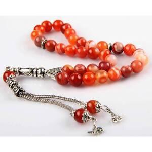 Islamıc Prayer Beads,akik agate turkish tasbih,Tesbih Misbaha 33 beads