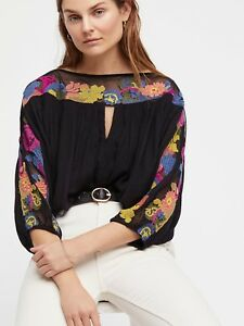 918285debd3746 NEW FREE PEOPLE Sz L GALINA FLORAL EMBROIDERED MESH BOHO TOP BLACK ...