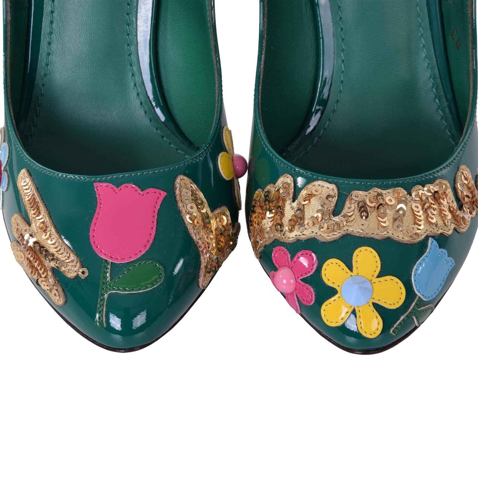 DOLCE & GABBANA Lackleder Mary Mary Mary Jane Pumps Schuhe Blumen Applikationen Grün 06761 f70517