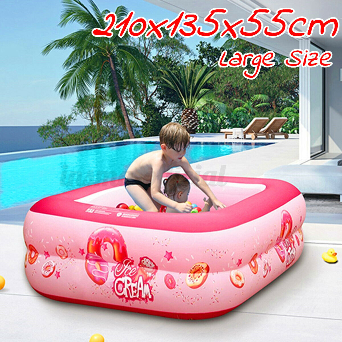 210CM Inflatable Swimming Pool Family Kids Fun Outdoor Garden Paddling Po