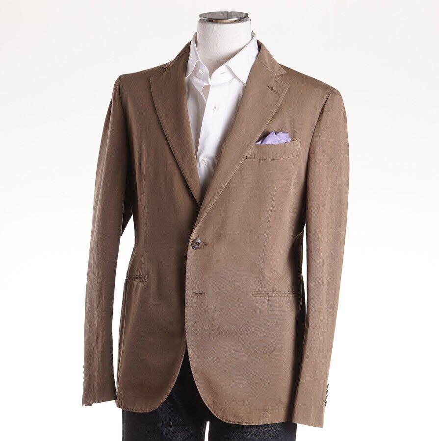 NWT 1175 BOGLIOLI Dark Tan Woven Cotton-Linen Sport Coat Slim 44 R (Eu 54)