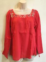 Hippie Bohemian Festival Embroidered Mexican Smock Peasant Blouse Shirt Red