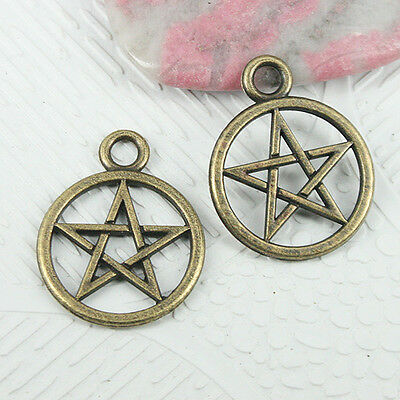 72pcs antiqued bronze color round shaped hollow star charms EF0841