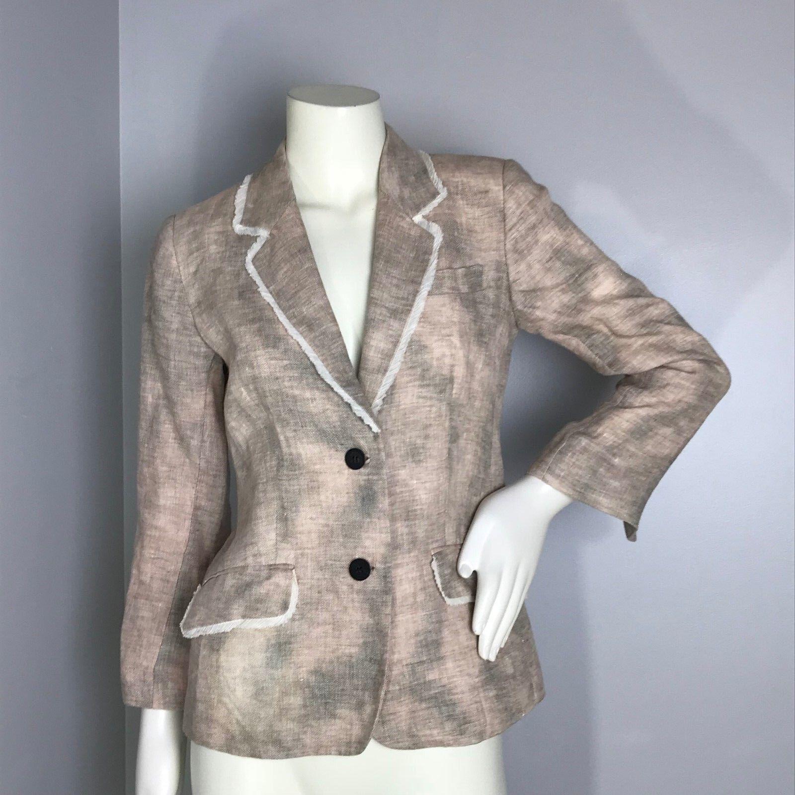 Elizabeth and James Womens Multi-color 2 Button Linen Blazer Crop Sleeve Size 4