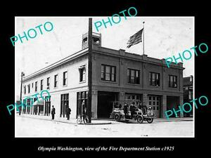 OLD-LARGE-HISTORIC-PHOTO-OF-OLYMPIA-WASHINGTON-THE-FIRE-DEPARTMENT-STATION-1925