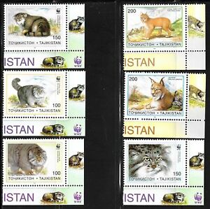 TAJIKISTAN-SC-92-98-NH-issue-of-1996-Animals-Wild-Cats-WWF-Set-S-S