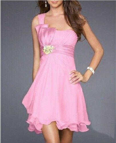 Formal Chiffon One Shoulder Dress Prom Party Bridesmaid Cocktail Evening