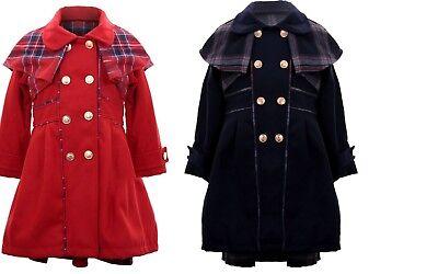 Bambine Bambini Inverno Caldo Cappotto Giacca Abito Smart Navy Red Tartan Formale Outdoor
