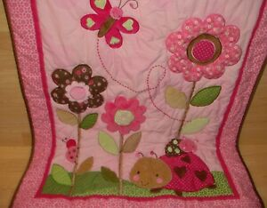 Carters Child of Mine Crib Quilt Pink Ladybug Butterfly & Flowers 34x40