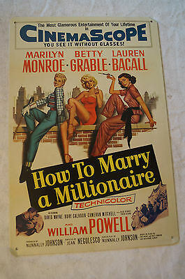RETRO STYLE TIN SIGN - How To Marry a Millionaire - Monroe, Grable, Bacall.
