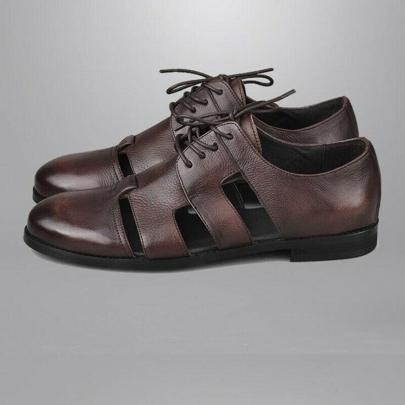 Para Hombre Retro Puntera Cerrada Negocios Formal Con Cordones Zapatos Sandalias De Cuero Calado