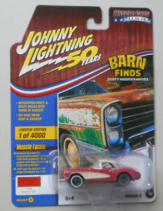 1957-Red-Chevy-Corvette-Barn-Find-JOHNNY-LIGHTNING-DIE-CAST-1-64-50th