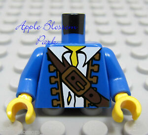 NEW-Lego-Pirate-Boy-Male-Minifig-BLUE-CAPTAIN-TORSO-w-White-Shirt-Brown-Belt