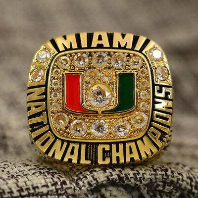 NCAA 1991 Miami Hurricanes National Championship Ring 8-14Size JOHNSON