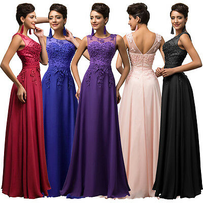 STOCK~ Vintage Long Chiffon Ball Gown Evening Formal Prom Bridesmaid Dress 6-20
