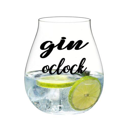 GIN O/'CLOCK VINYL STICKERS FOR GIN GLASS X 6 BLACK