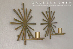 MID CENTURY MODERN BRUTALIST STARBURST SCONCES! ATOMIC AGE WALL ART VTG 50'S 60S