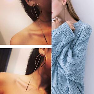 Fashion-Women-Gold-Silver-Metal-Big-Circle-Chain-Large-Ring-Hoop-Earrings-NEW
