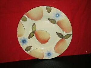 Pottery-Barn-China-Fruit-amp-Floral-9-034-Round-Salad-Dessert-Plate-Pears-amp-Flowers